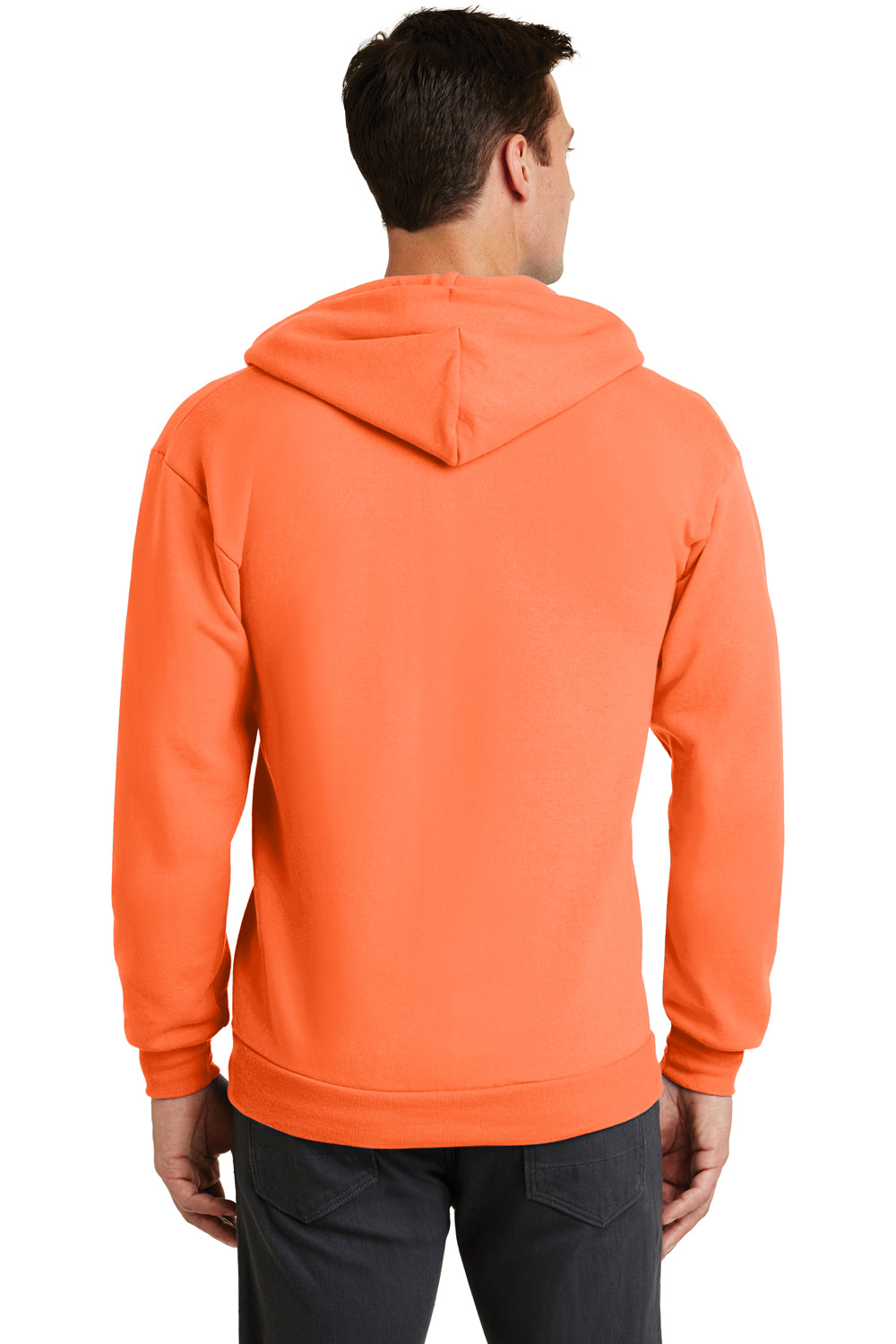 Port & Company PC78ZH Mens Core Fleece Full Zip Hooded Sweatshirt Hoodie Neon Orange Back