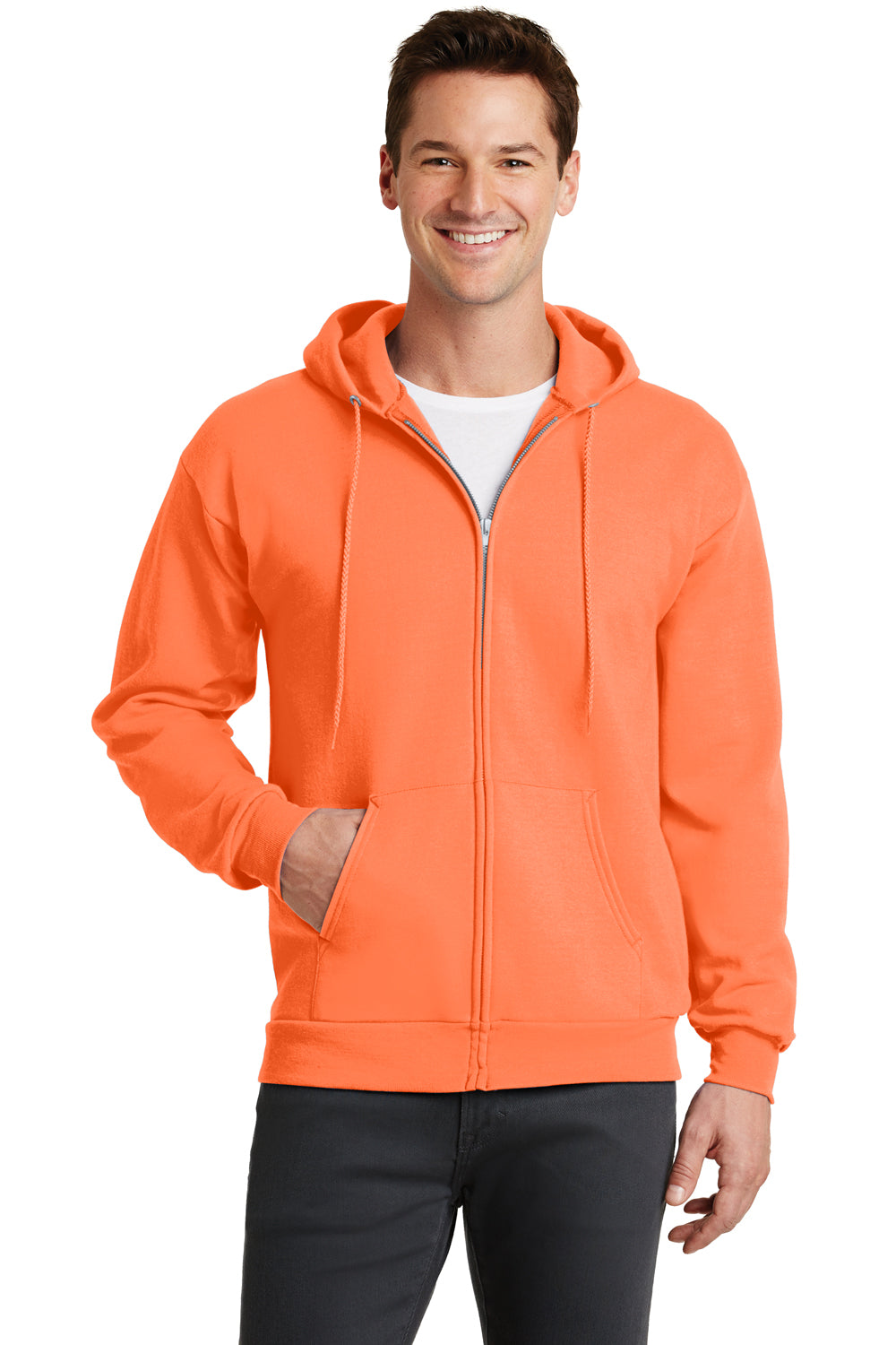 Port & Company PC78ZH Mens Core Fleece Full Zip Hooded Sweatshirt Hoodie Neon Orange Front