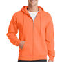 Port & Company Mens Core Fleece Full Zip Hooded Sweatshirt Hoodie - Neon Orange