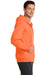 Port & Company PC78ZH Mens Core Fleece Full Zip Hooded Sweatshirt Hoodie Neon Orange Side