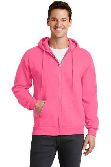 Port & Company PC78ZH Mens Core Fleece Full Zip Hooded Sweatshirt Hoodie Neon Pink Front