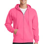 Port & Company Mens Core Fleece Full Zip Hooded Sweatshirt Hoodie - Neon Pink