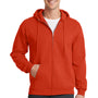 Port & Company Mens Core Fleece Full Zip Hooded Sweatshirt Hoodie - Orange