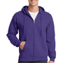 Port & Company Mens Core Fleece Full Zip Hooded Sweatshirt Hoodie - Purple