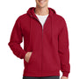 Port & Company Mens Core Fleece Full Zip Hooded Sweatshirt Hoodie - Red