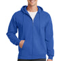 Port & Company Mens Core Fleece Full Zip Hooded Sweatshirt Hoodie - Royal Blue