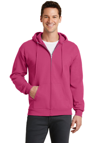 Port & Company PC78ZH Mens Core Fleece Full Zip Hooded Sweatshirt Hoodie Sangria Pink Front