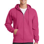 Port & Company Mens Core Fleece Full Zip Hooded Sweatshirt Hoodie - Sangria Pink