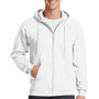 Port & Company Mens Core Fleece Full Zip Hooded Sweatshirt Hoodie - White