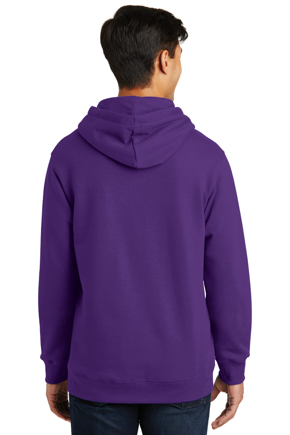 Port & Company PC850H Mens Fan Favorite Fleece Hooded Sweatshirt Hoodie Purple Back