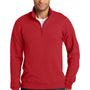 Port & Company Mens Fan Favorite Fleece 1/4 Zip Sweatshirt - Bright Red