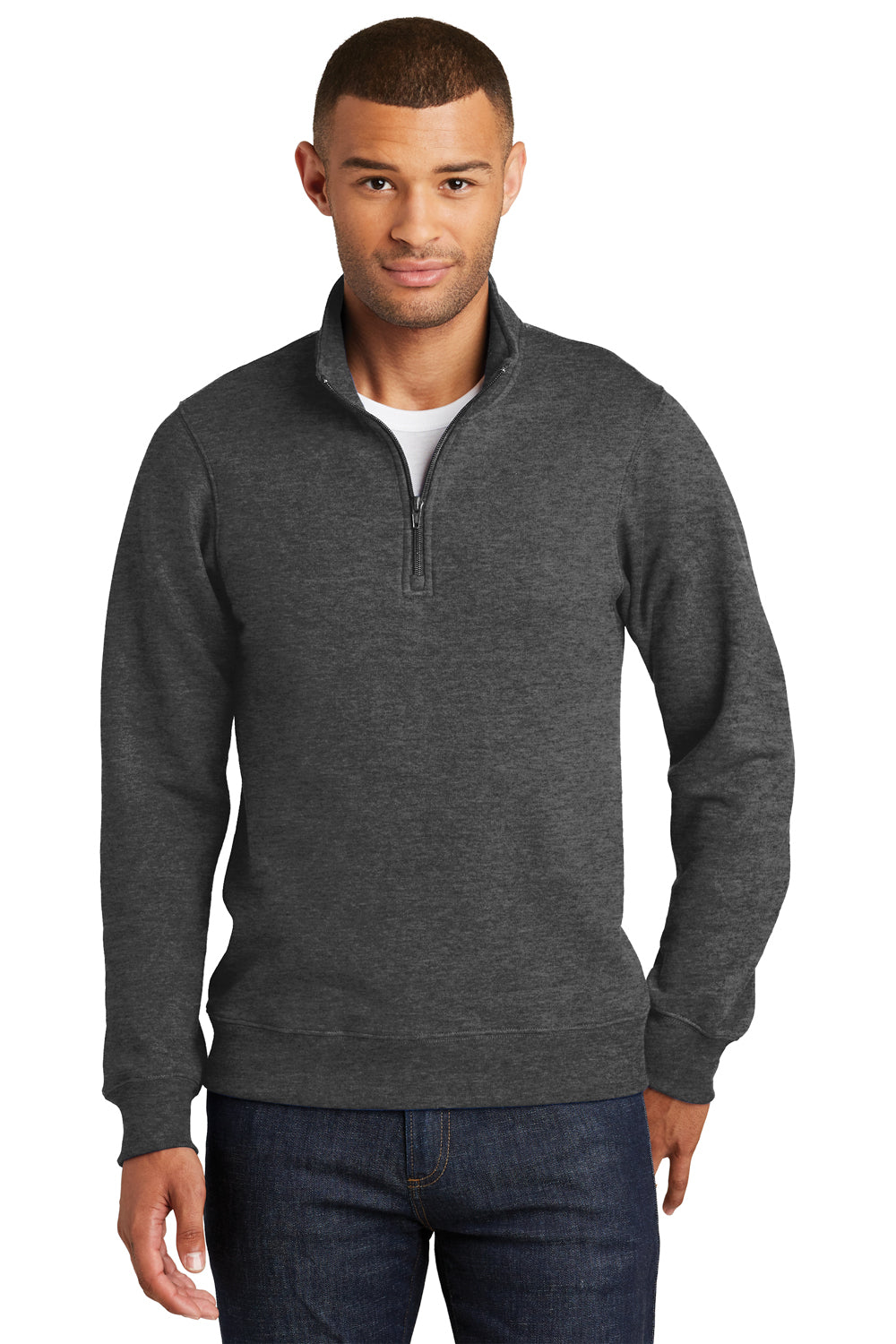 Port & Company PC850Q Mens Fan Favorite Fleece 1/4 Zip Sweatshirt Heather Dark Grey Front