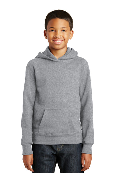 Port & Company PC850YH Youth Fan Favorite Fleece Hooded Sweatshirt Hoodie Heather Grey Front