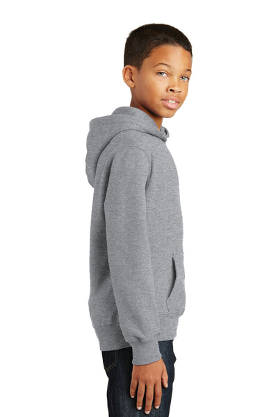 Port & Company PC850YH Youth Fan Favorite Fleece Hooded Sweatshirt Hoodie Heather Grey Side