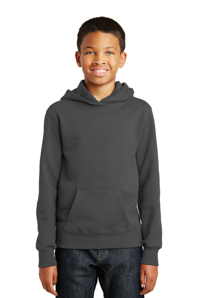 Port & Company PC850YH Youth Fan Favorite Fleece Hooded Sweatshirt Hoodie Charcoal Grey Front