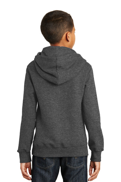 Port & Company PC850YH Youth Fan Favorite Fleece Hooded Sweatshirt Hoodie Heather Dark Grey Back