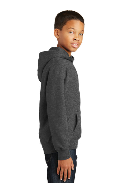 Port & Company PC850YH Youth Fan Favorite Fleece Hooded Sweatshirt Hoodie Heather Dark Grey Side