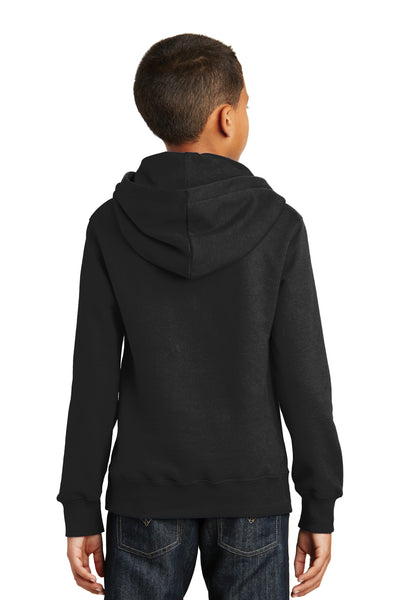 Port & Company PC850YH Youth Fan Favorite Fleece Hooded Sweatshirt Hoodie Black Back