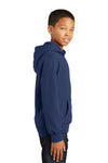 Port & Company PC850YH Youth Fan Favorite Fleece Hooded Sweatshirt Hoodie Navy Blue Side