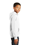 Port & Company PC850YH Youth Fan Favorite Fleece Hooded Sweatshirt Hoodie White Side