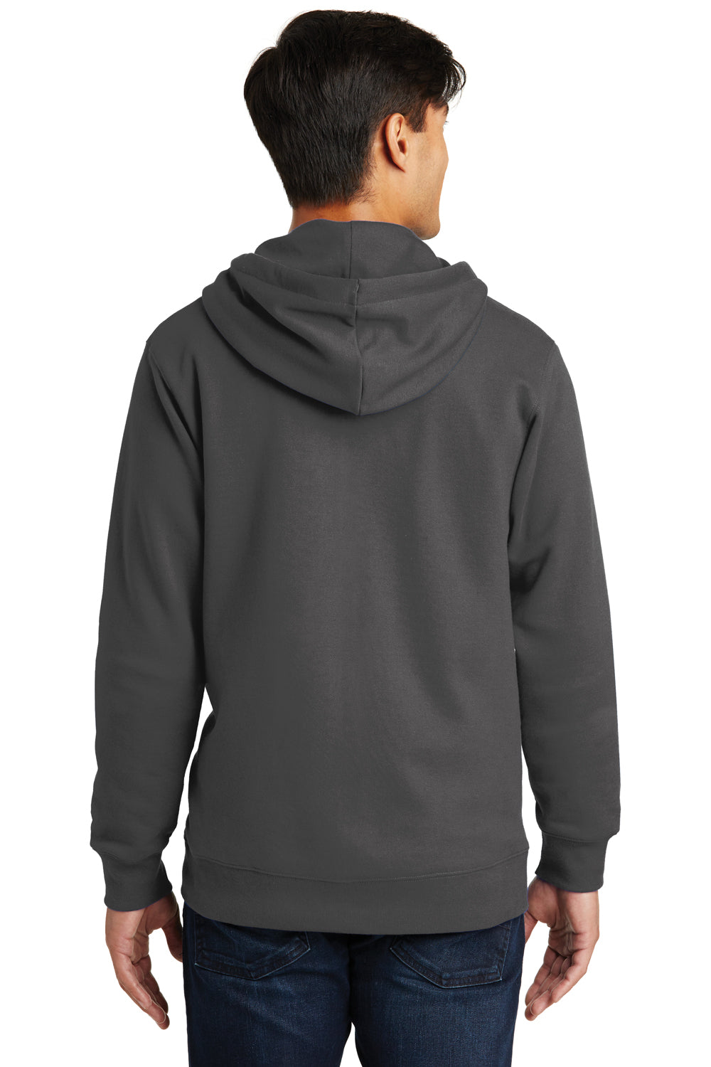 Port & Company PC850ZH Mens Fan Favorite Fleece Full Zip Hooded Sweatshirt Hoodie Charcoal Grey Back