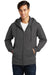 Port & Company PC850ZH Mens Fan Favorite Fleece Full Zip Hooded Sweatshirt Hoodie Charcoal Grey Front