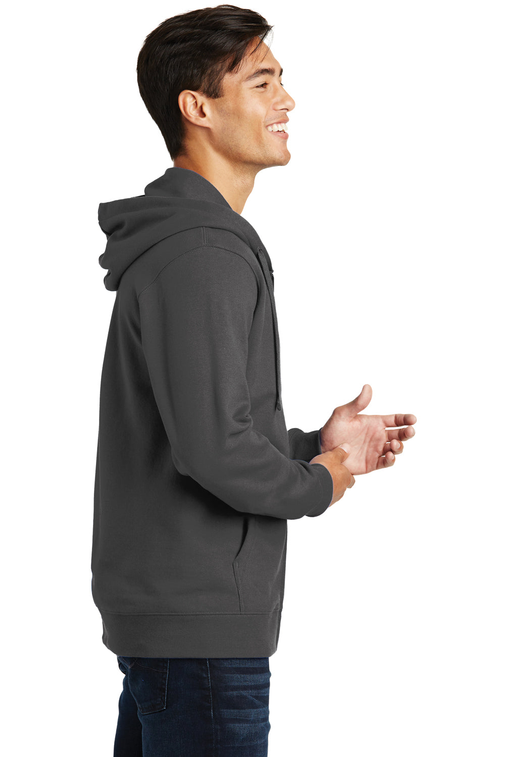 Port & Company PC850ZH Mens Fan Favorite Fleece Full Zip Hooded Sweatshirt Hoodie Charcoal Grey Side