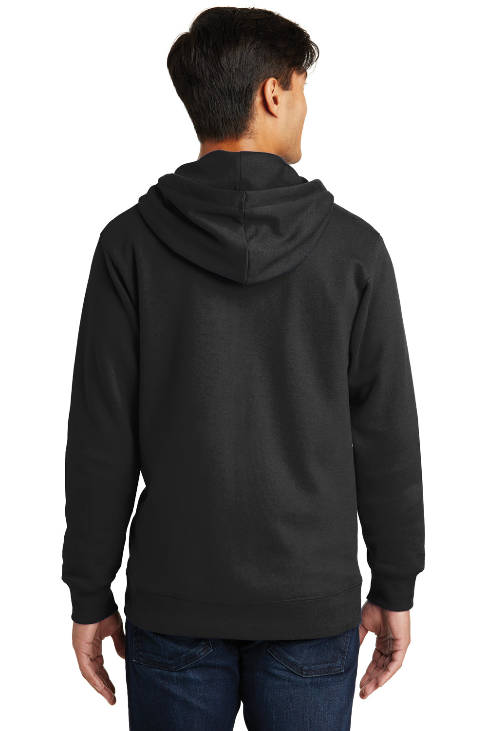 Port & Company PC850ZH Mens Fan Favorite Fleece Full Zip Hooded Sweatshirt Hoodie Black Back