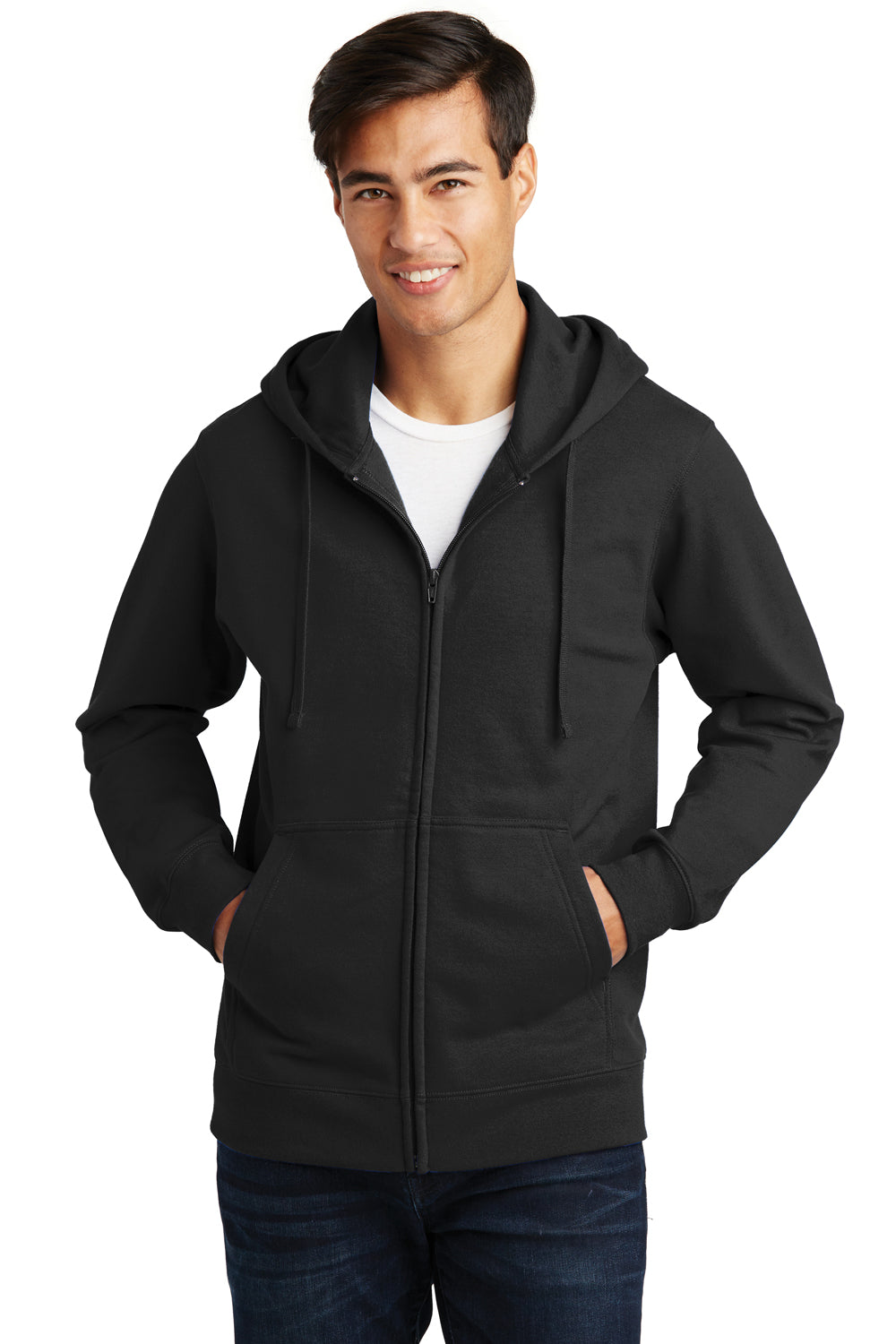 Port & Company PC850ZH Mens Fan Favorite Fleece Full Zip Hooded Sweatshirt Hoodie Black Front