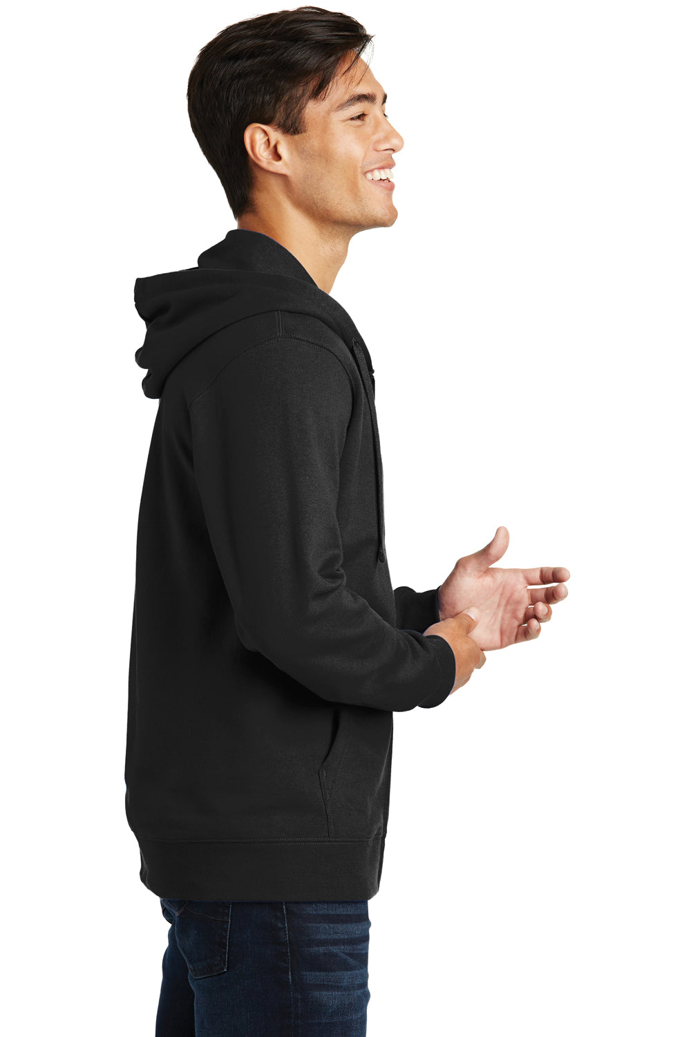 Port & Company PC850ZH Mens Fan Favorite Fleece Full Zip Hooded Sweatshirt Hoodie Black Side