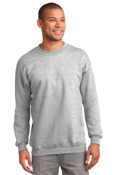 Port & Company PC90 Mens Essential Fleece Crewneck Sweatshirt Ash Grey Front