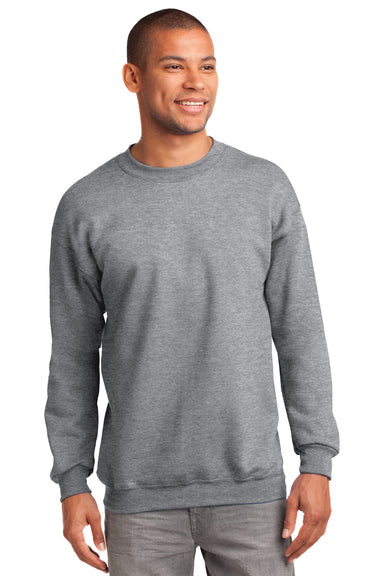 Port & Company PC90 Mens Essential Fleece Crewneck Sweatshirt Heather Grey Front