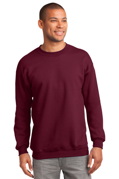 Port & Company PC90 Mens Essential Fleece Crewneck Sweatshirt Cardinal Red Front