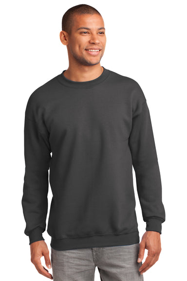 Port & Company PC90 Mens Essential Fleece Crewneck Sweatshirt Charcoal Grey Front