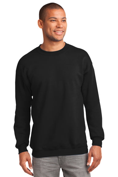 Port & Company PC90 Mens Essential Fleece Crewneck Sweatshirt Black Front