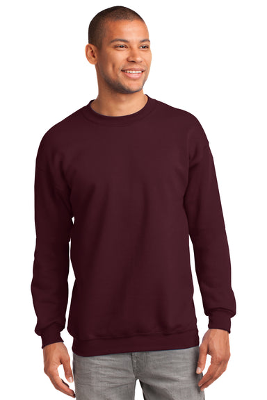 Port & Company PC90 Mens Essential Fleece Crewneck Sweatshirt Maroon Front