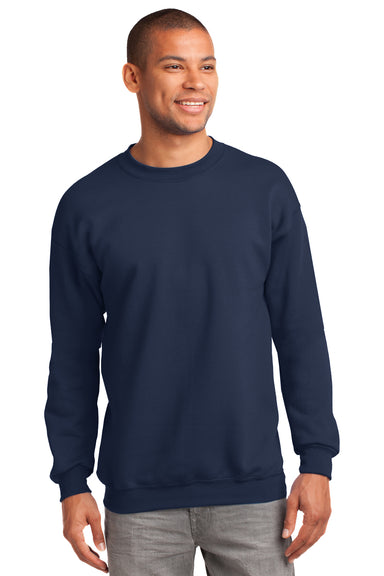 Port & Company PC90 Mens Essential Fleece Crewneck Sweatshirt Navy Blue Front