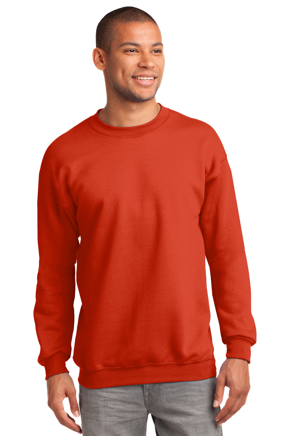 Port & Company PC90 Mens Essential Fleece Crewneck Sweatshirt Orange Front