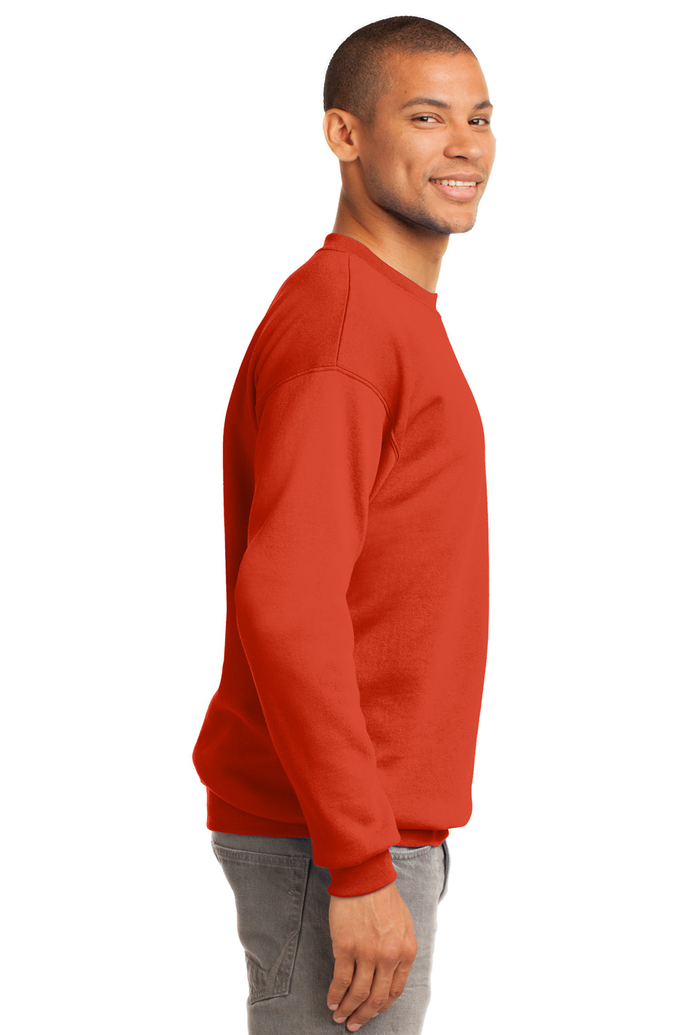 Port & Company PC90 Mens Essential Fleece Crewneck Sweatshirt Orange Side