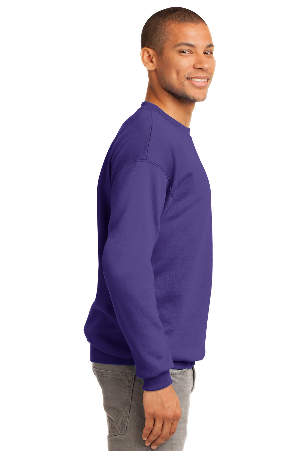 Port & Company PC90 Mens Essential Fleece Crewneck Sweatshirt Purple Side
