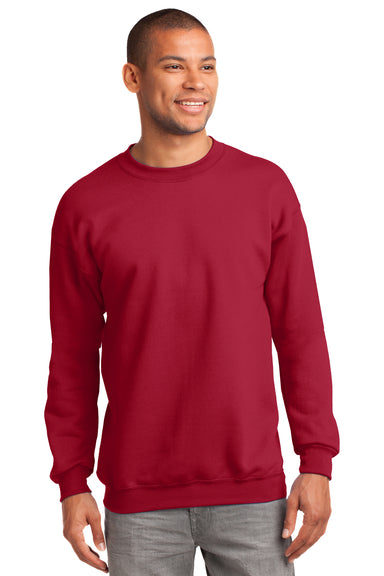 Port & Company PC90 Mens Essential Fleece Crewneck Sweatshirt Red Front