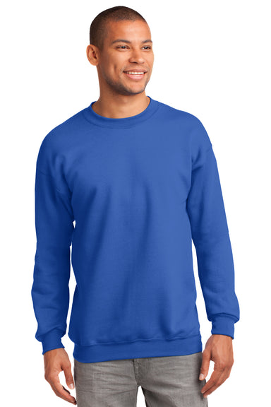 Port & Company PC90 Mens Essential Fleece Crewneck Sweatshirt Royal Blue Front