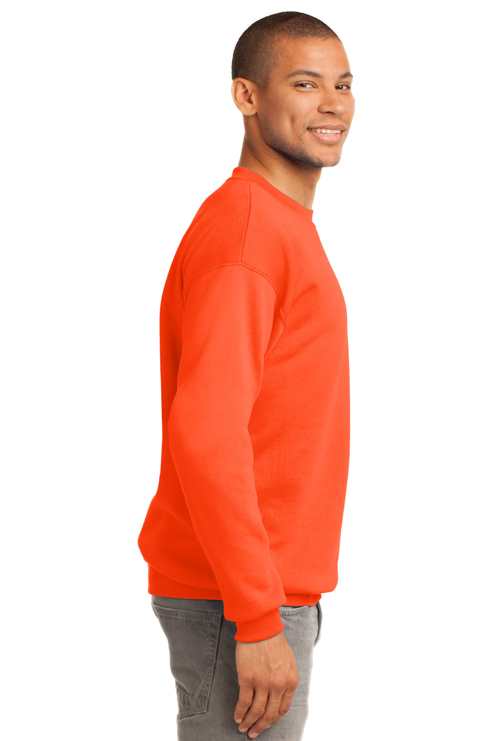 Port & Company PC90 Mens Essential Fleece Crewneck Sweatshirt Safety Orange Side