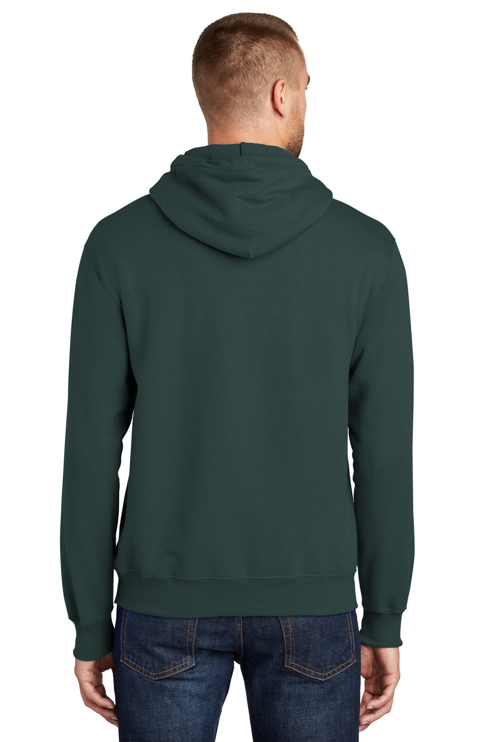 Port & Company PC90H Mens Essential Fleece Hooded Sweatshirt Hoodie Dark Green Side