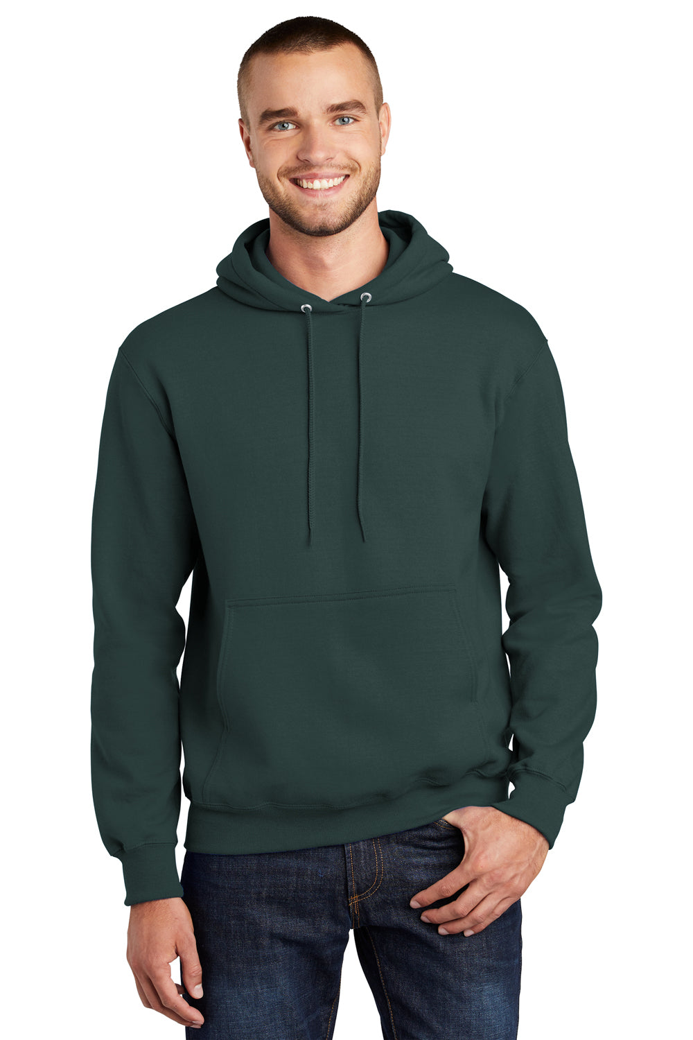 Port & Company PC90H Mens Essential Fleece Hooded Sweatshirt Hoodie Dark Green Front