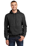Port & Company PC90H Mens Essential Fleece Hooded Sweatshirt Hoodie Heather Dark Grey Front