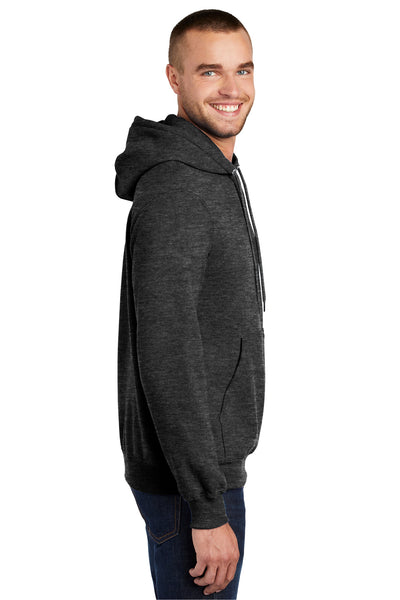 Port & Company PC90H Mens Essential Fleece Hooded Sweatshirt Hoodie Heather Dark Grey Side