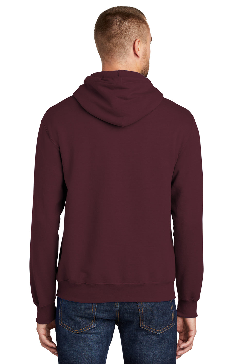 Port & Company PC90H Mens Essential Fleece Hooded Sweatshirt Hoodie Maroon Side