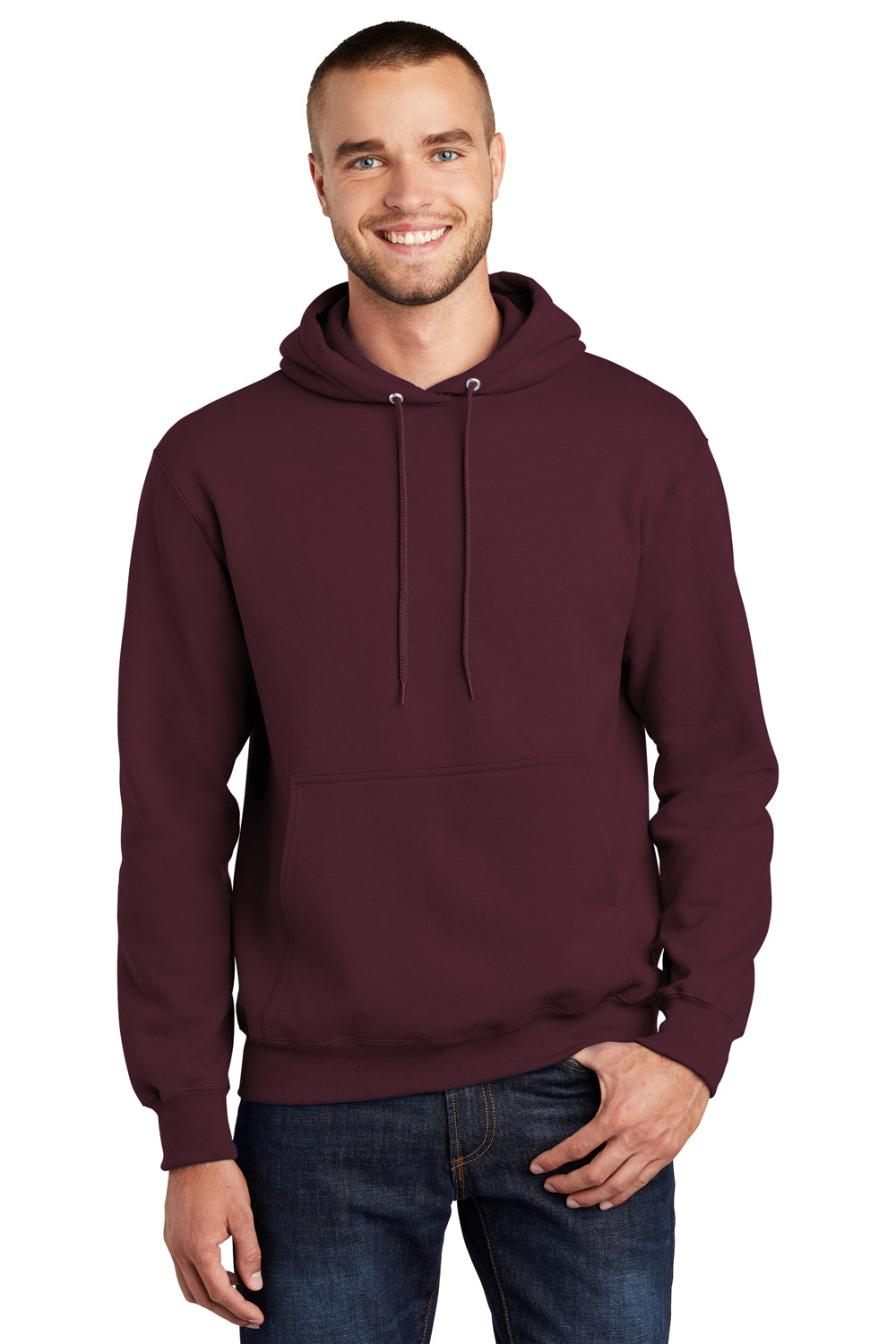 Port & Company PC90H Mens Essential Fleece Hooded Sweatshirt Hoodie Maroon Front