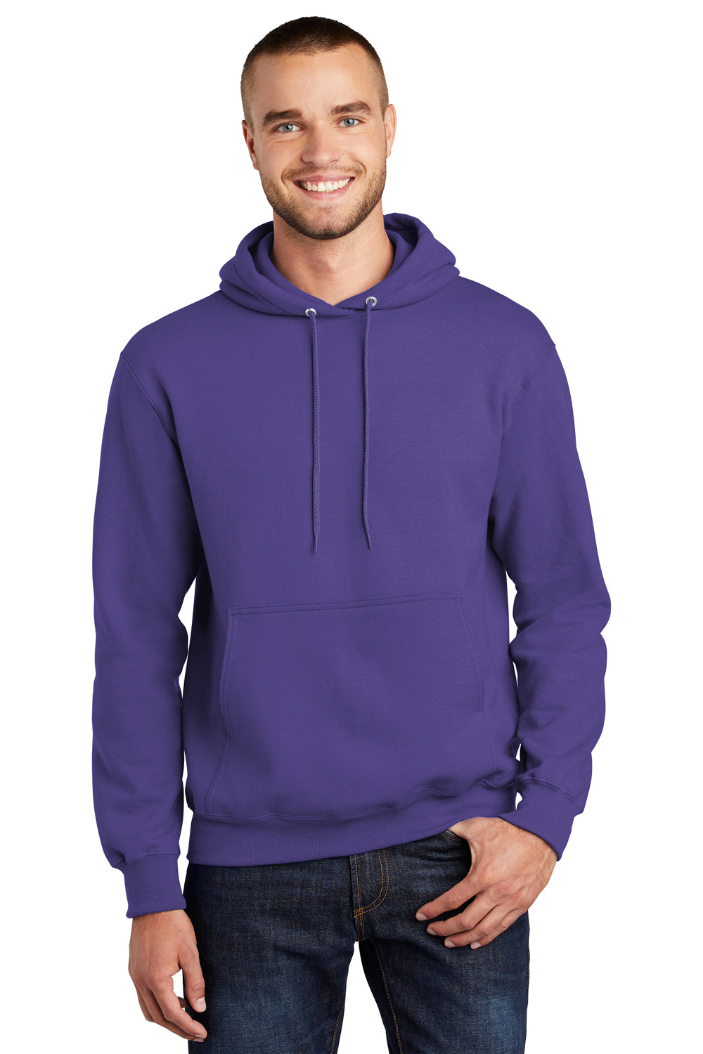 Port & Company PC90H Mens Essential Fleece Hooded Sweatshirt Hoodie Purple Front